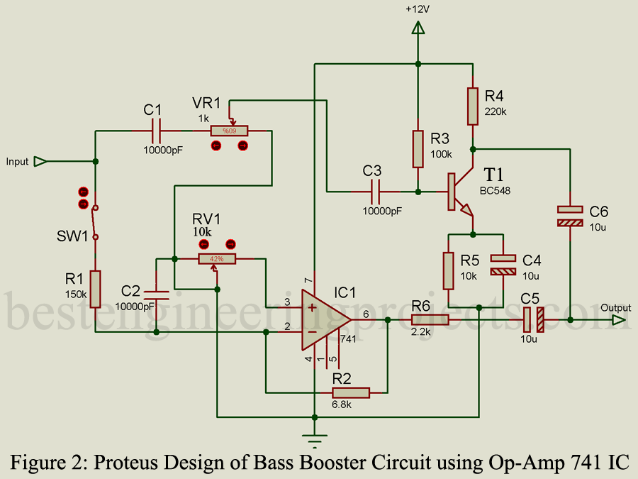 Bass Booster Circuit using Op-Amp 741 IC - Engineering Projects