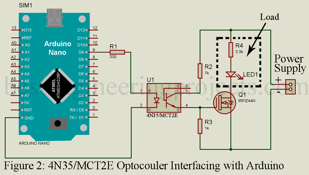 Interfacing Optocoupler with Arduino - Engineering Projects on electrical schematic, audio schematic, gps schematic, amp schematic, switch schematic, sensor schematic, power schematic, relay schematic, inductor schematic, electronic schematic, wireless schematic, motor schematic,