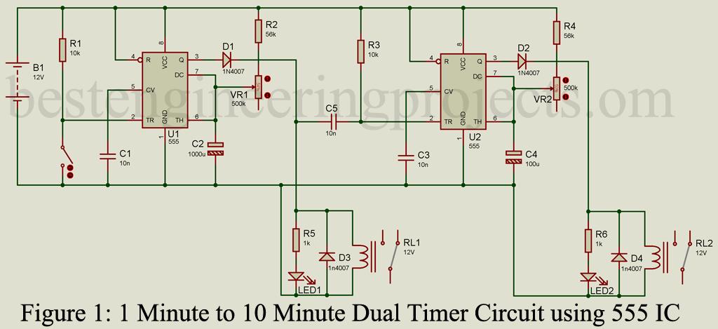 Adjustable Dual Timer Circuit Using 555 Timer Ic